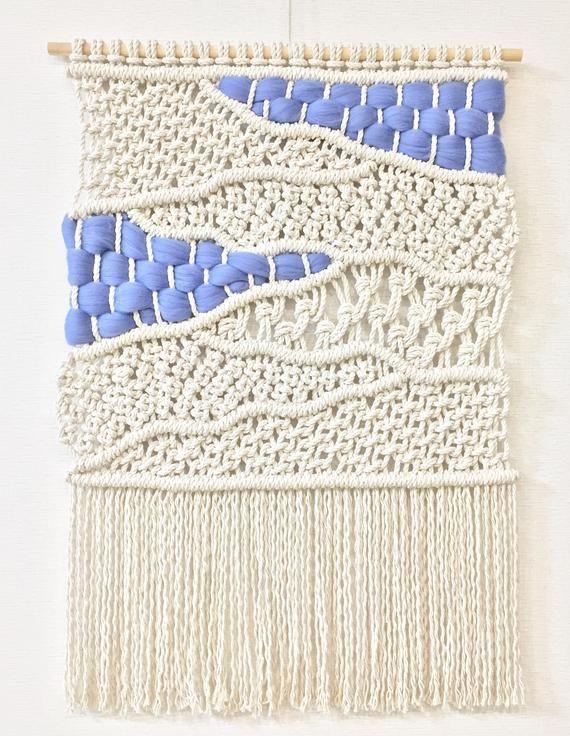 Macrame Wall Hanging, Scandinavian Minimalism Wall Decor,  Multicolor Textile Fiber Art, Boho Decor,