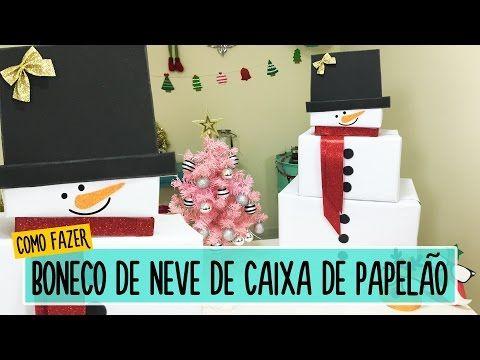 Como fazer boneco de neve com caixas de papelão - DIY