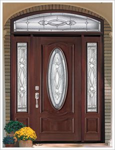 Sweet Brown Wood Lighted Masonite Entry Doors Design Collections With  Amazing Oval Shaped Glazing Doorlite And High Rectangle Shaped Double Side  Lite Also ...