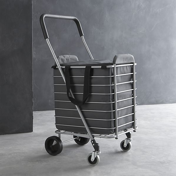 Polder® Folding Shopping Cart with Insulated Grey Liner in Utility   Crate and Barrel Great Idea for those of us who walk to the store!