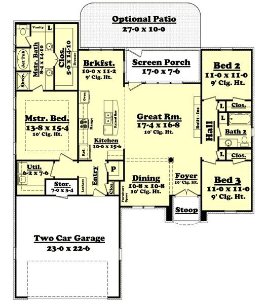 One story house plans with mud rooms for House plans with large mud rooms