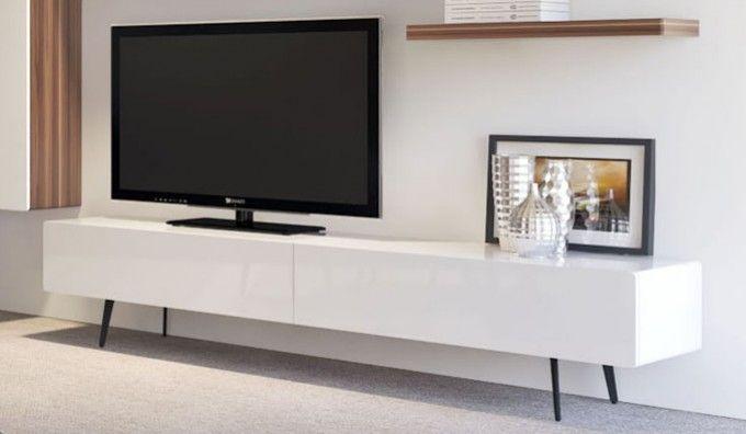 Ikon White Standing TV unit, 220cm, £699