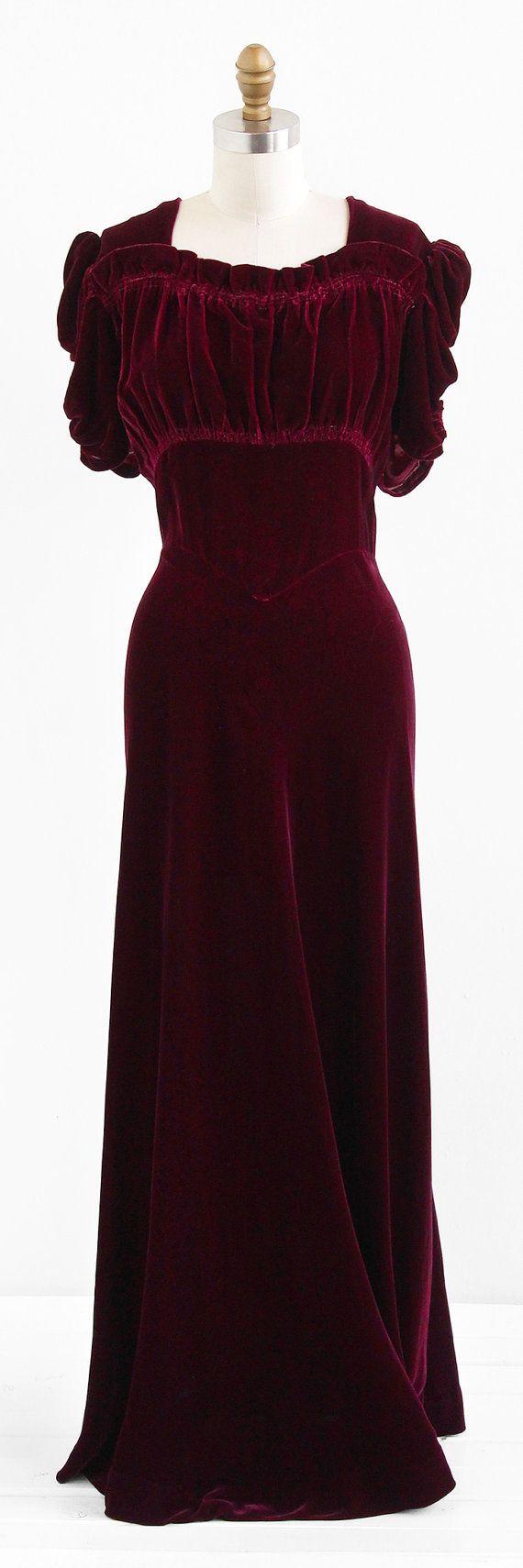 Look for less velvet dress on the hunt - R E S E R V E D Vintage 1930s Dress 30s Silk Velvet Dress Red Burgundy Silk Velvet Holiday Evening Gown