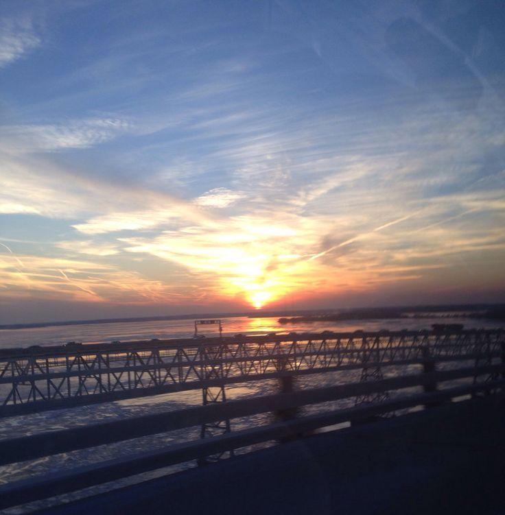Chesapeake Bay Winter | Sunset on Chesapeake Bay Bridge. | Winter | Pinterest
