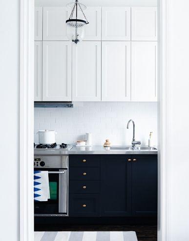 crisp navy & white + unique cabinetry detail   via Modern & Classic Kitchens ~ Cityhaüs Design