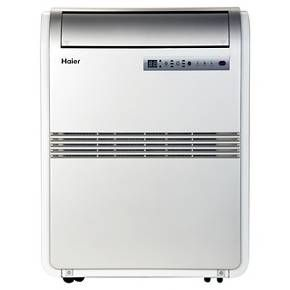 <p>With 3 cool settings, 3 fan settings, a 24 hr on/off timer, and dehumidify mode, this single-hose Haier 8,000 BTU Portable Air Conditioner is equipped to meet your interior climate needs. A Quick-Install Window Kit is included for exhausting the unit through any horizontal or vertical opening window, and fully-directional casters provide mobility. Maintenance is minimal with a slide-out washable mesh filter, and Auto Evaporation technology makes manual draining unne...