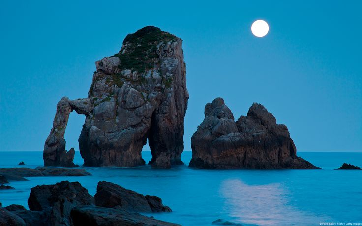 moonset over bay of biscay, Spain