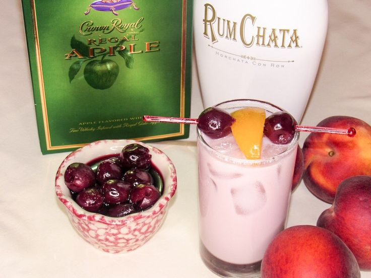 Valentine's Day drink! RumChata! Crown Royal Apple! Peaches and cherries so unique and yummy!