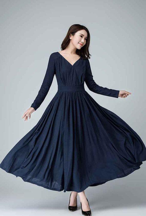 blue dress v nick dress spring dress linen maxi dress long