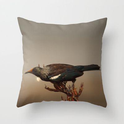 Tui on Flax Throw Pillow by Karen Hulse - $20.00