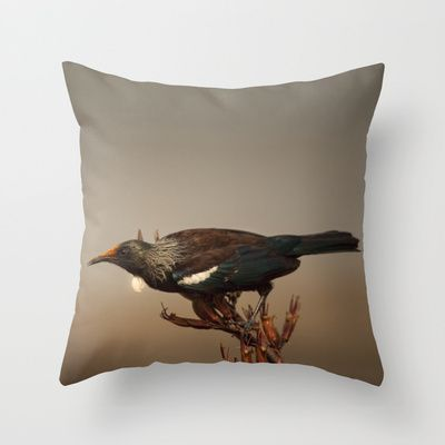 Tui on Flax Throw Pillow by Karen Hulse - $20.00