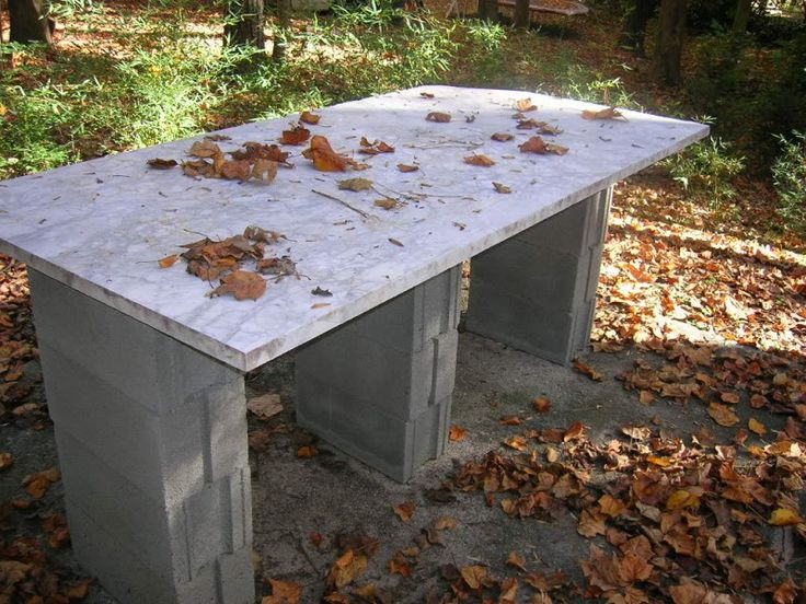 Example Of Cinder Block Legs For Outdoor Table This Is A