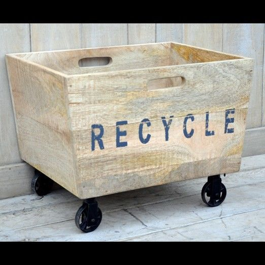 VINTAGE / INDUSTRIAL STYLE RECYCLE BIN / BASKED ON CAST IRON WHEELS