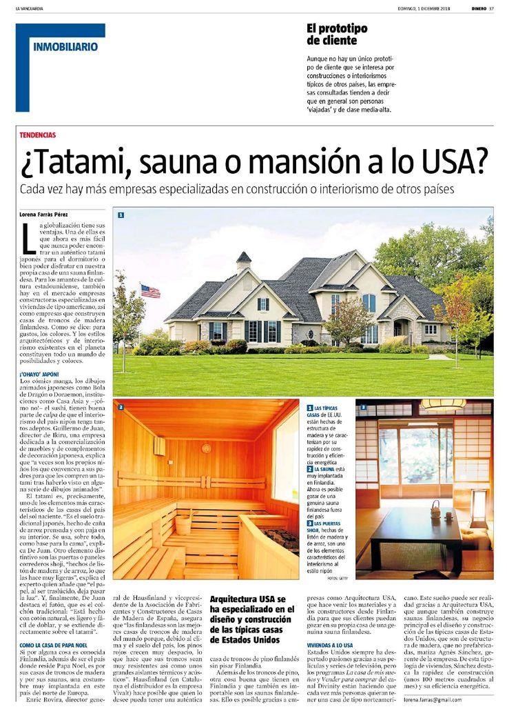 Reportaje del diario La Vanguardia sobre las casas de madera americanas y las saunas finlandesas.