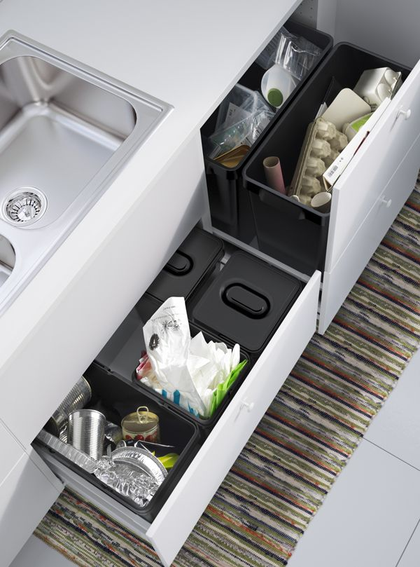 Recycling, trash and compost - waste sorting doesn't have to be difficult! Create an easy space-saving system that helps you separate your waste with bins and baskets that fit in your kitchen cabinets and drawers.