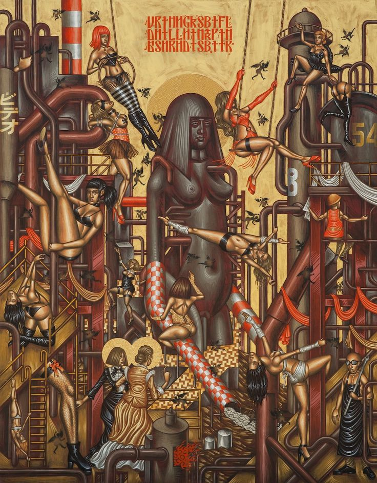 Stelios Faitakis, In Danger of Lust, 2013, mixed media on canvas, 245 x 193 cm