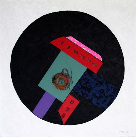 The circle the order and the disorder Polythene, tempera, canvas, quartz sand, 100x100 cm