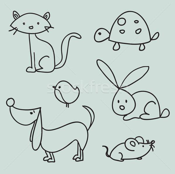 Hand drawn cartoon pets vector illustration © Karola Kallai (kariiika) (#737495) | Stockfresh