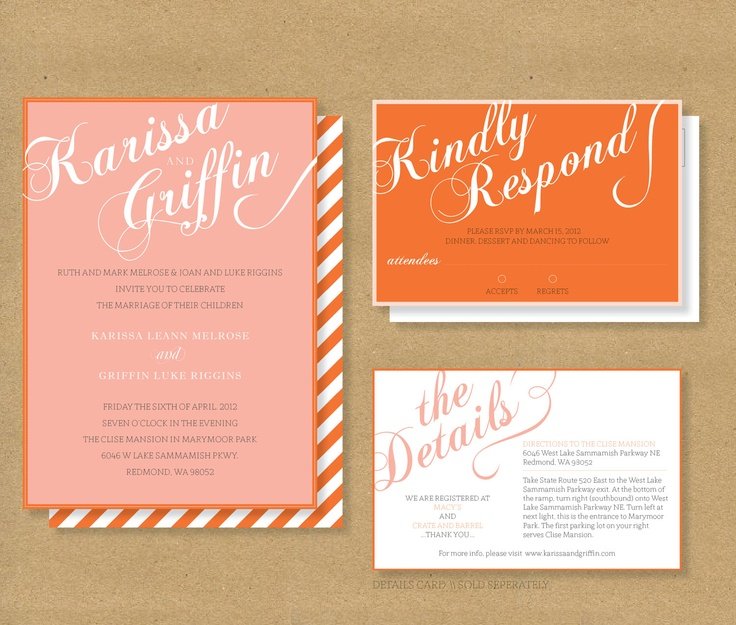 FANCY SCRIPT Wedding Invitation // Invitation and RSVP Card. $20.00, via Etsy.  Would LOVE in gray & purple