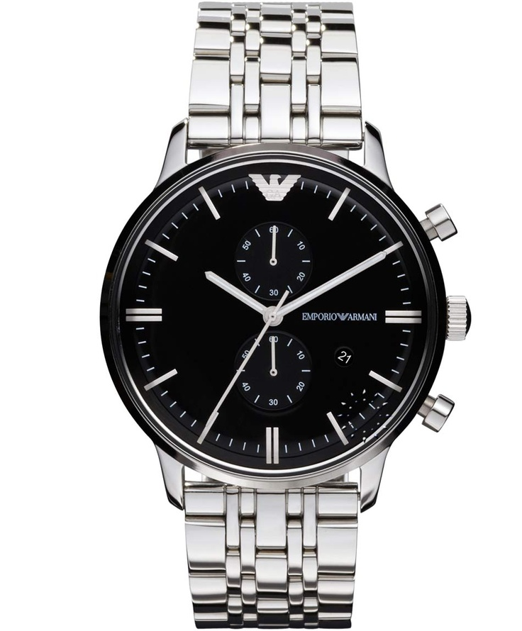 Emporio Armani Black Dial Stainless Steel Bracelet, 410€ http://www.oroloi.gr/product_info.php?products_id=30854