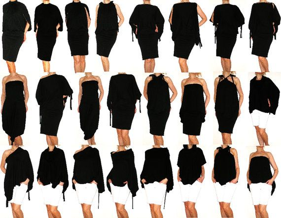 Black Convertible Multi way dress in jersey  more than by Loretari, $72.00