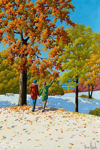 Rémi Clark, 'Sur un tapis d'hiver et d'automne', 24'' x 36''   Galerie d'art - Au P'tit Bonheur - Art Gallery