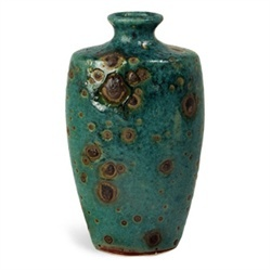 Oval Turquoise Reactive Glaze Ceramic Vase with Brown Details