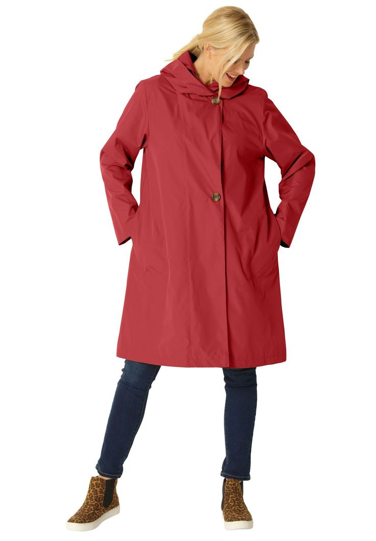 Packable water-resistant hooded raincoat with zip bag - Women's Plus Size Clothing