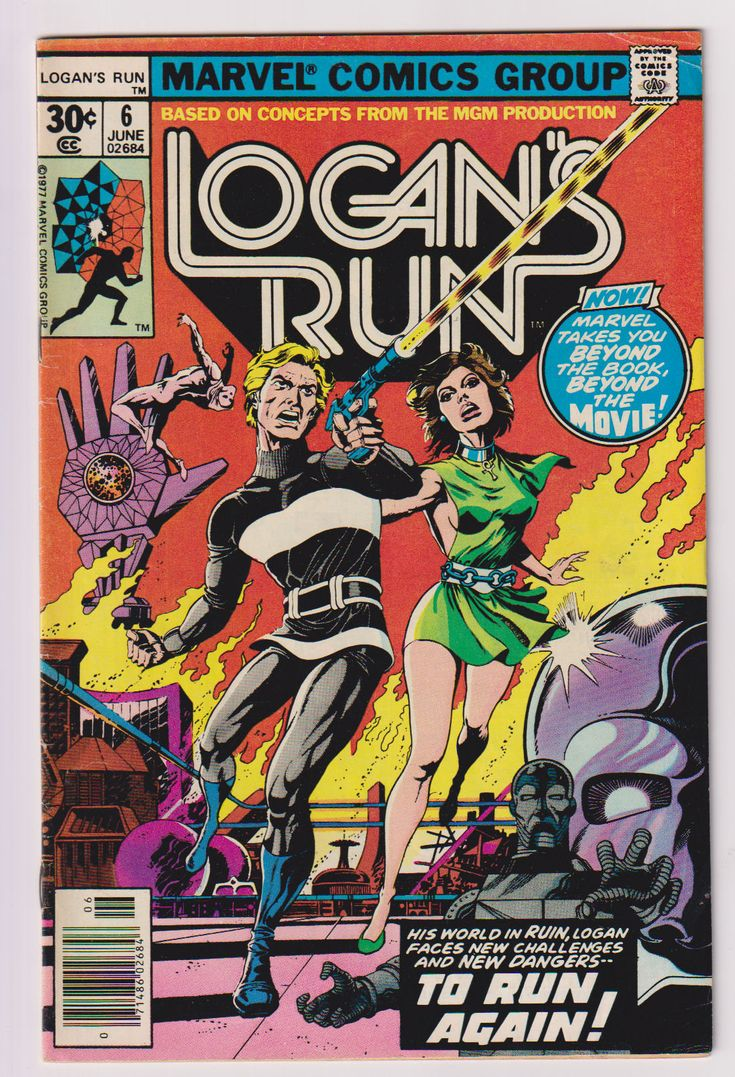 Logan's Run; Vol 1, 6, Bronze Age Comic Book. FN (6.0). June 1977. Marvel Comics #logansrun #thanos #comicsforsale