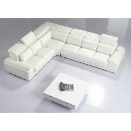 T93C White Leather Sectional Sofa - 2820.0000