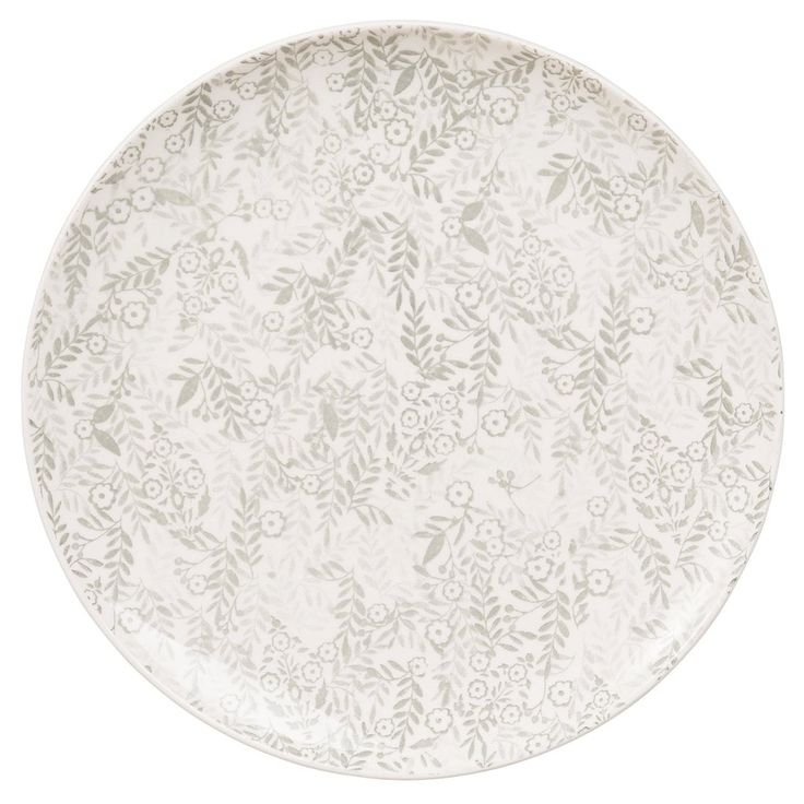 Stoneware Dinner Plate with Grey Floral Motifs | Maisons du Monde