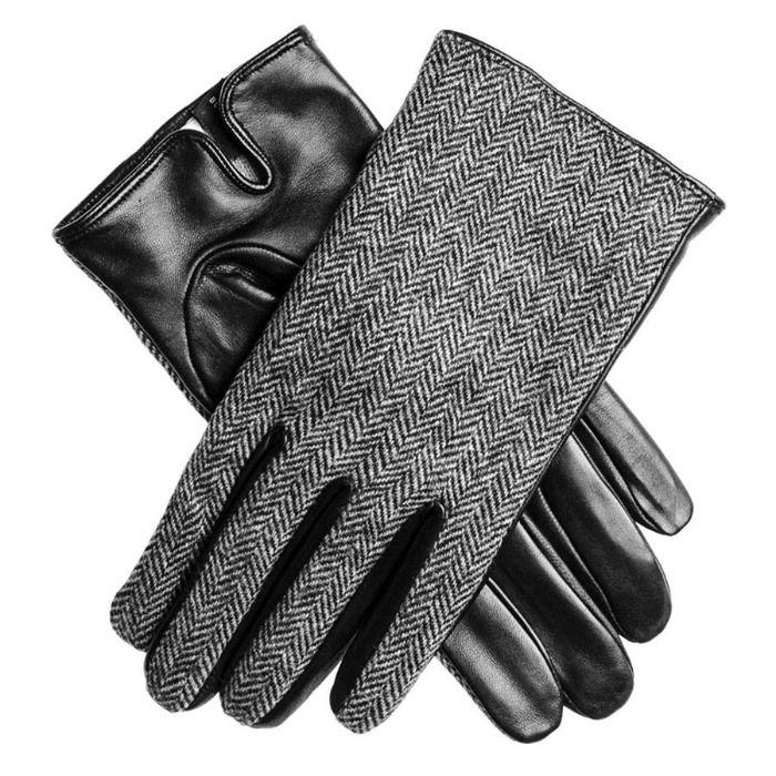 gants homme agneau plongé tweed