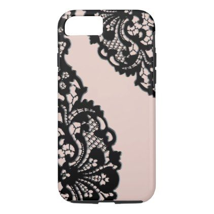 Elegant Vintage Black Lace iPhone 8/7 Case - girly gift gifts ideas cyo diy special unique