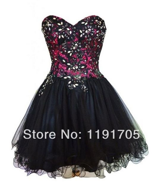 Freeshipping Sexy Strapless Sweetheart Handmade Black Short Prom dresses 2014 Ball Gowns Mini Party Dress 2014 New Arrival $119.00