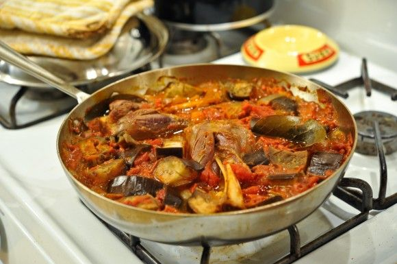 Braised Lamb Shanks with Tomato, Eggplant, and Anchovies
