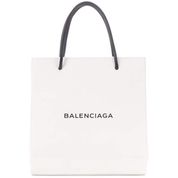 Balenciaga Shopping Paper Small Leather Tote (1 265 AUD) ❤ liked on Polyvore featuring bags, handbags, tote bags, white, white leather tote bag, balenciaga tote, white purse, leather handbags and handbags totes