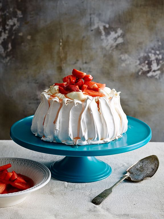 Ah pavlova! An Australian summer classic: this one is topped with vanilla yoghurt, watermelon and strawberries.