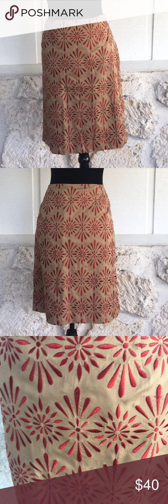 "Talbots tan & rust embroidered pencil skirt Talbot's tan pencil skirt embroidered with rust colored design. Skirt is absolutely gorgeous! EUC Side zipper with hook and eye closure, there is no stretch to the material. measurements: waist measured laying flat side to side 16.5"" length from waist to hemline 22"" ✅I ship same or next day ✅Bundle for discount Talbots Skirts Pencil"