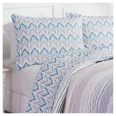 Stripe Raine Reversible Quilt Set (Queen) 3pc - Marble Hill, Blue Purple White
