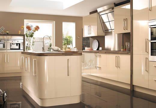 gloss cream and walnut kitchen