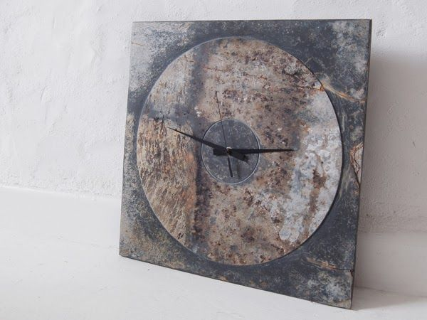 large square reclaimed cornish slate clock by pachadesign. copyright © pachadesign 2013