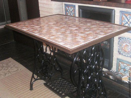 """Мебель ручной работы. Ярмарка Мастеров - ручная работа. Купить Стол с керамической столешницей """"The patchwork"""". Handmade. Стол, зингер"""