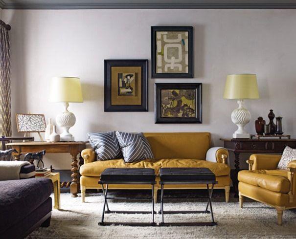 yellow leather sofas steven gambrel   #livingroom