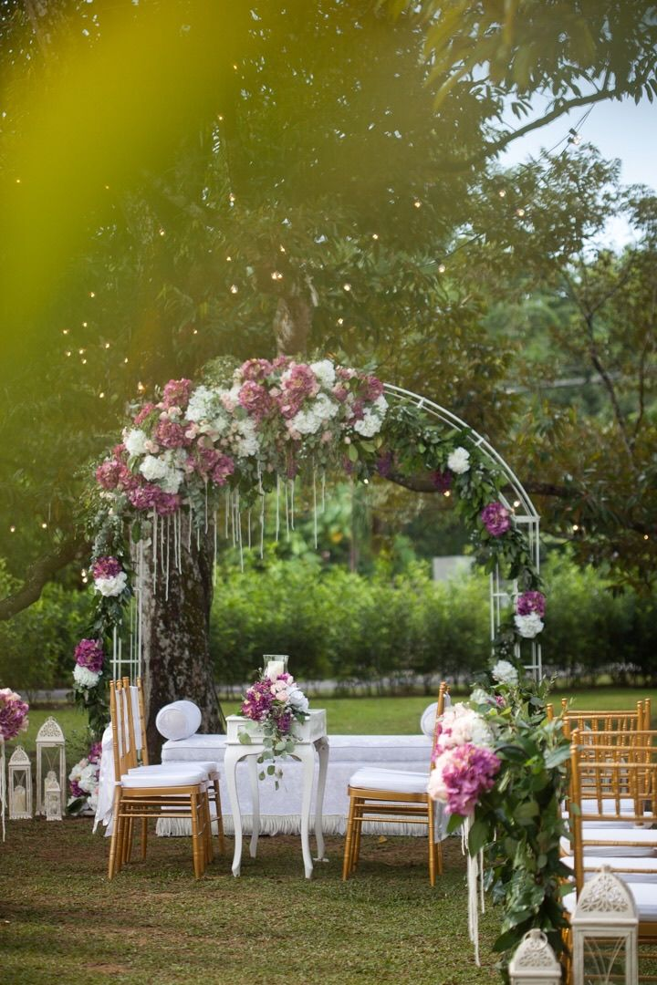Outdoor akad nikah ceremony. #wedding #garden #aisle #pelamin #altar #plum #marsala #blush #white #chiavari #gold