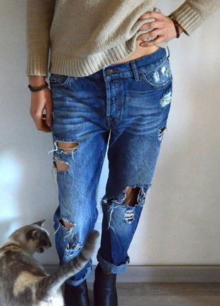 À vendre sur #vintedfrance ! http://www.vinted.fr/mode-femmes/pantalons-larges/28327439-jeans-boyfriend-bershka-large-fonce-delave
