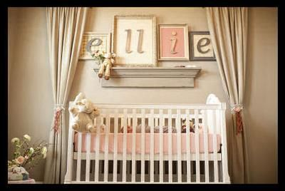 Ellie's nursery is a delight in baby girl pink, greige (a combination of gray and beige), and moss green. Ellie's romantic vintage nursery was designed to be an oasis of sweet softness featuring a color palette reminiscent of gentler times long past. Baby will