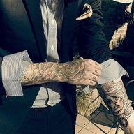 Men in suits with tattoos super hot