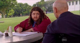 """5.07 """"The Life and Death of Jeremy Bentham"""" – HURLEY: So, you didn't make it, huh? LOCKE: Pardon me? HURLEY: You didn't make it. It's cool. No biggie. You're not the first person to visit me, y'know. But what's up with the wheelchair? LOCKE: Uh, I broke my leg fallin' down a hole. HURLEY: Oh. Is that how you died? LOCKE: Hugo, I'm not dead. HURLEY: [amused] Sure, you're not."""