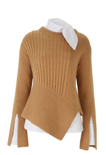 Shop now. Eudon Choi RATTNER JUMPER.   Long sleeve jumper in fine cashmere wool blend knit.  Camel in colour featuring a slit detail on the sleeves and an asymmetrical hem.
