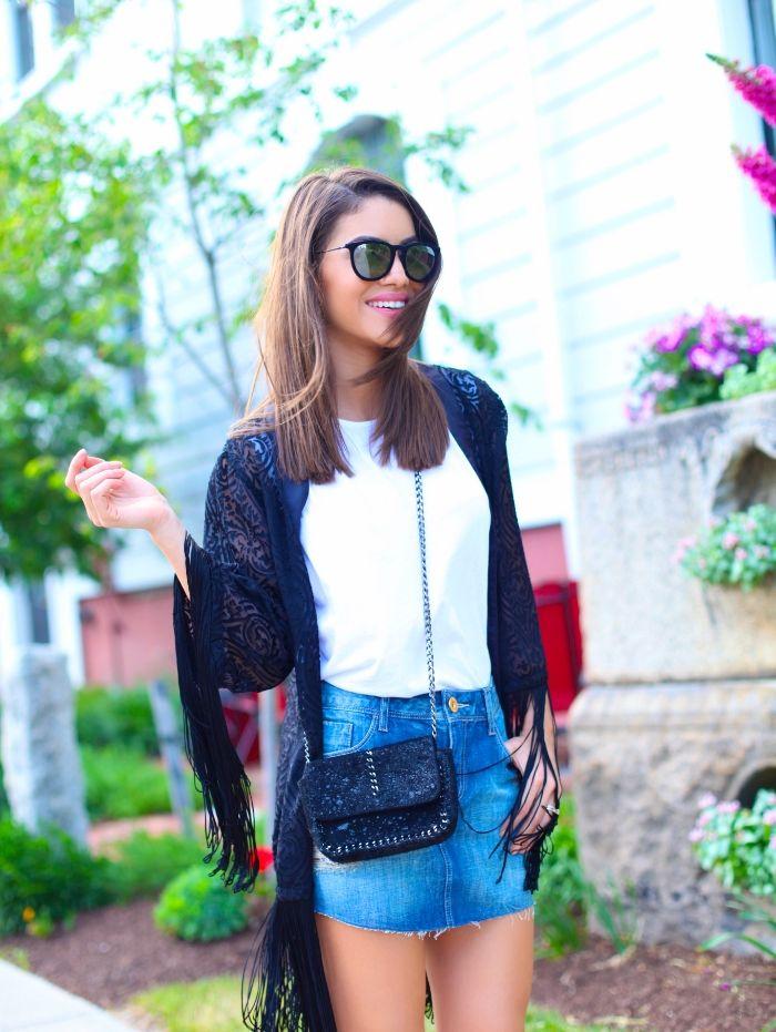 Look do Dia: Saia jeans e Kimono